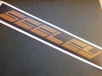 "Seeley Orange & Black Stripey Text Oblong Sticker. 11""."