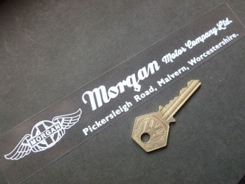 "The Morgan Motor Company White on Clear Window or Car Body Sticker. 8""."