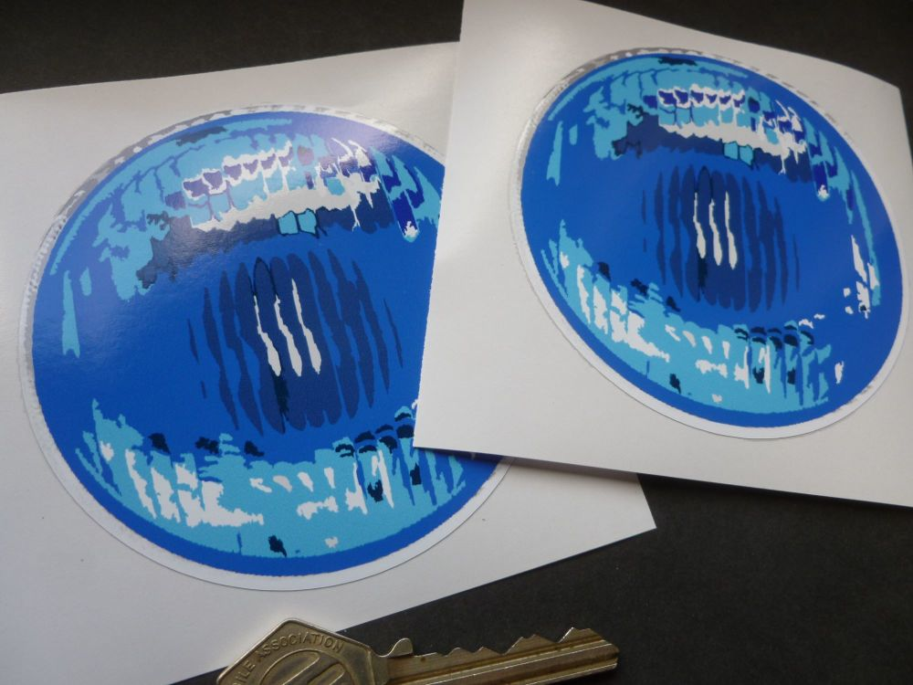False Round Blue Light Stickers. Pedal Car. 90mm Pair.
