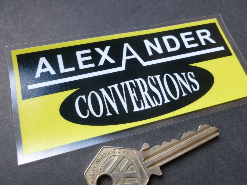 "Alexander Conversions Yellow & Black Oblong Window Sticker. 4.5""."