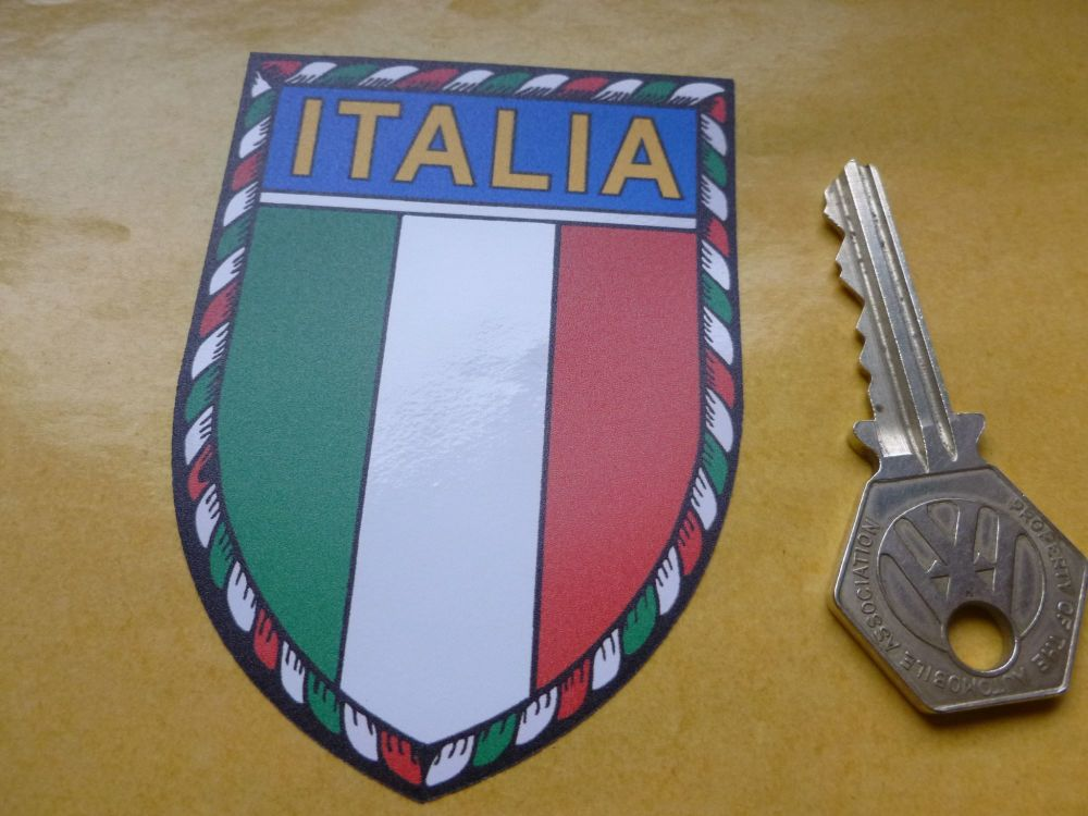 Italia Traditional Rope Edged Shield Style Window or Car Body Sticker. 85mm.
