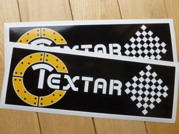 """Textar Old Style Brake & Clutch Racing Car Stickers. 12"""" Pair."""