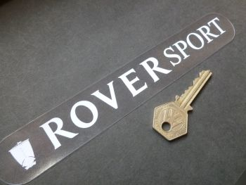 """Rover Sport White on Clear Window or Car Body Sticker. 8""""."""