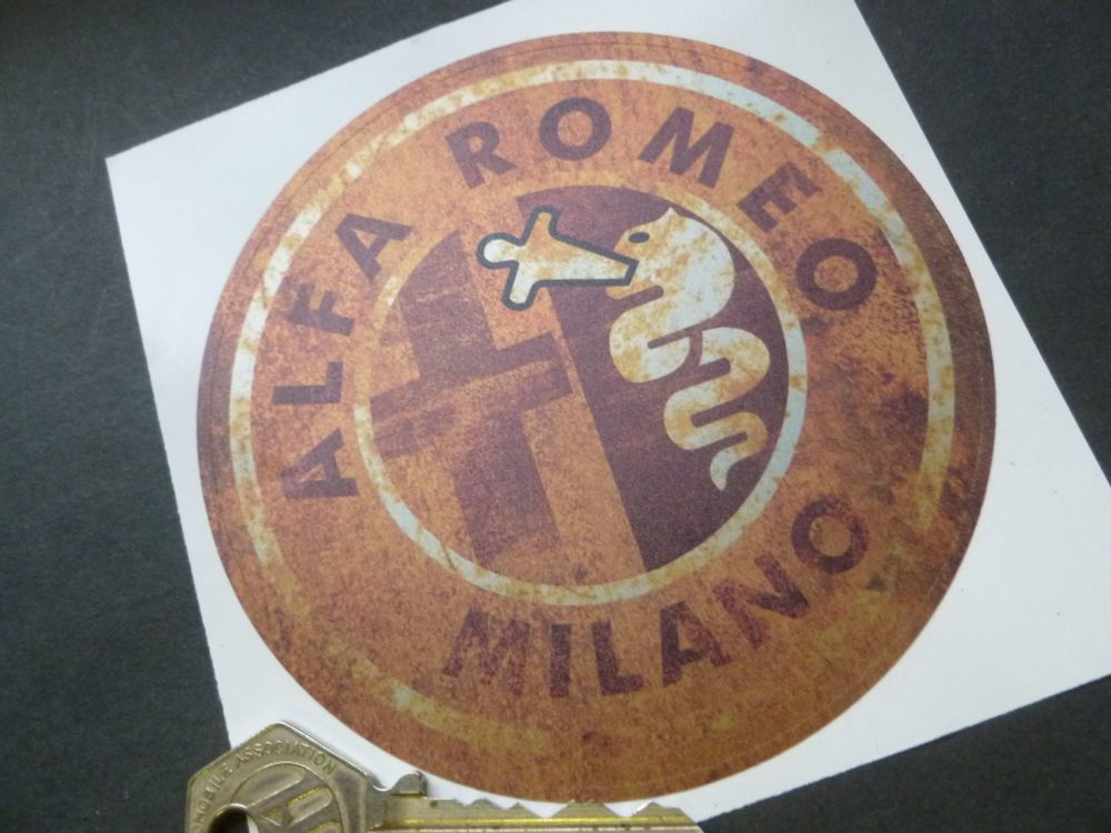 "Alfa Romeo Milano Rusty Style Stickers. 4"" Pair."