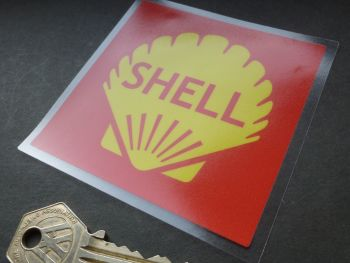 Shell Red Square Window Sticker. 90mm.