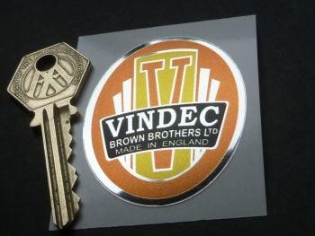 "Vindec Orange Bicycle Headstock Foil Sticker. 2""."