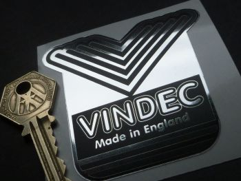 Vindec V Made in England Bicycle Headstock Foil Sticker. 70mm.