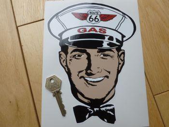 "Route 66 Gas Man Attendant Sticker. 6""."