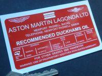 Aston Martin Lagonda Ltd Recommended Duckhams Oil Under Bonnet Sticker DBV8 DBS DB6 etc. 110mm.