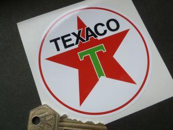 """Texaco Star Green T Petrol Pump Stickers. 4"""" Pair."""