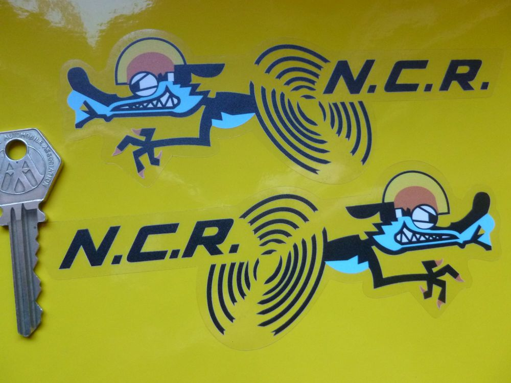 """NCR Ducati Racing White Detail on Clear Stickers. 6"""" Handed Pair."""