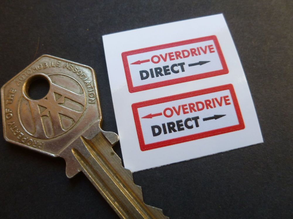 Overdrive or Direct Stickers. MG, Healey and others. 25mm Pair.