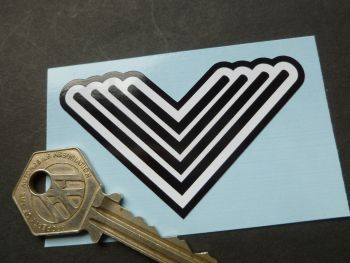 "Vindec Striped V Bicycle Black & White Sticker. 3""."