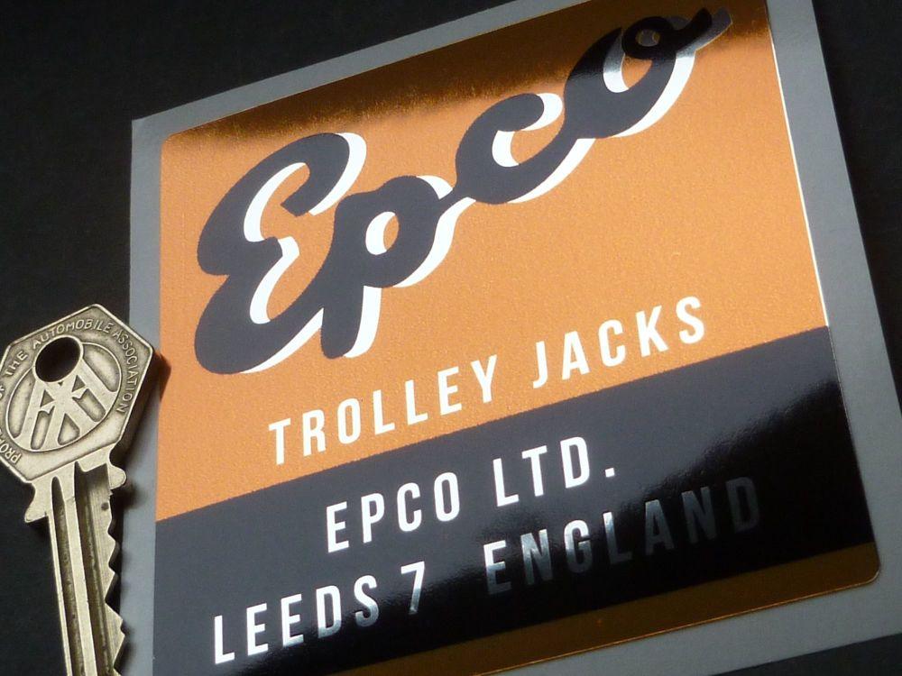 "Epco Trolley Jack Orange, Black, & Foil Sticker. 3.5""."