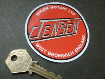 Jensen Red Window Sticker. 85mm.