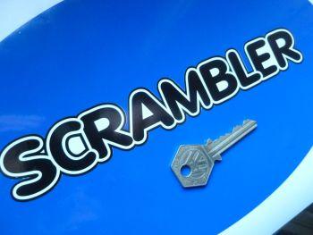"Vindec Scrambler Bicycle Black & White Cut Text Sticker. 8""."