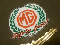 MG Safety Fast Garland Style Window Sticker. 70mm.