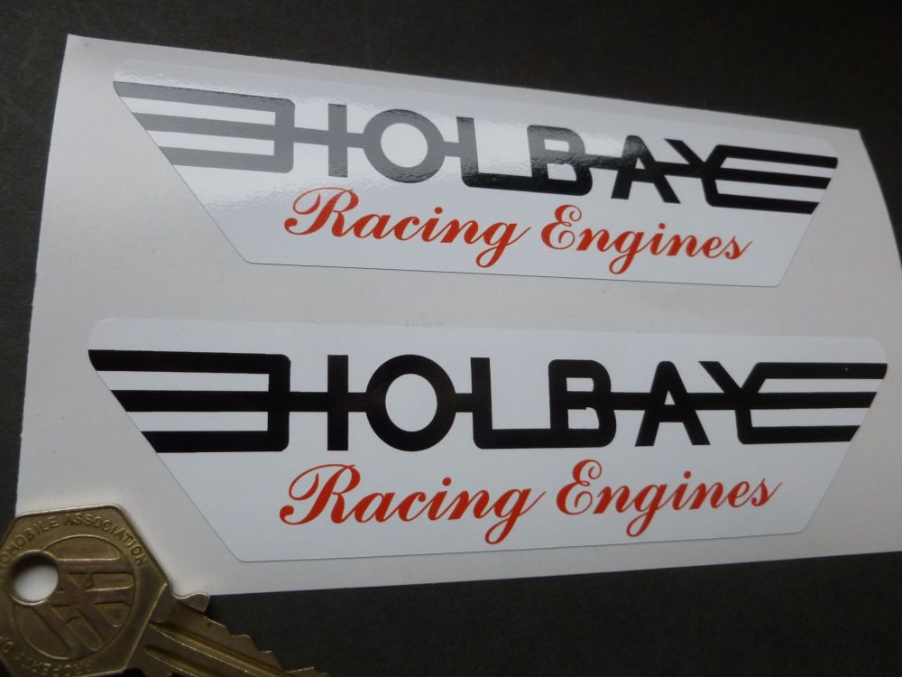 """Holbay Racing Engines Red, Black & White Stickers. 5.75"""" Pair."""