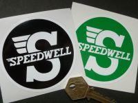 Speedwell Black & White or Green & White Circular Sticker. 3.25