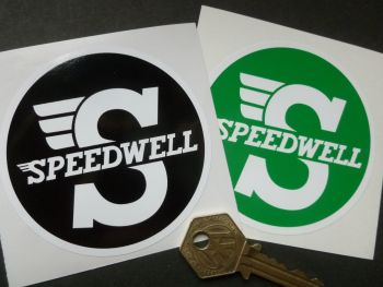 "Speedwell Black & White or Green & White Circular Sticker. 3.25""."