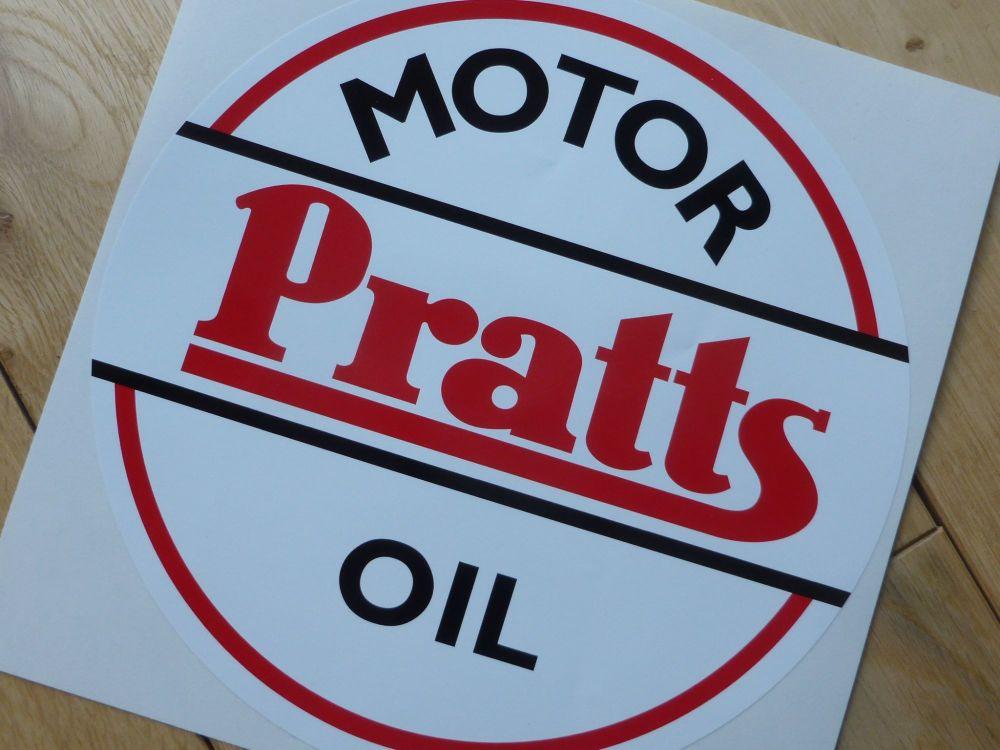 """Pratts Motor Oil Old Style Round Sticker. 8""""."""