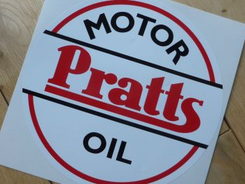 "Pratts Motor Oil Old Style Round Sticker. 8""."