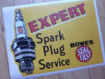 "Bowes Seal Fast Expert Spark Plug Service Large Sticker. 21.5""."