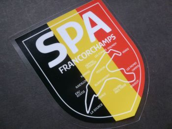 "Spa Francorchamps Race Circuit Car Body or Window Sticker. 2.25"" or 4.5""."
