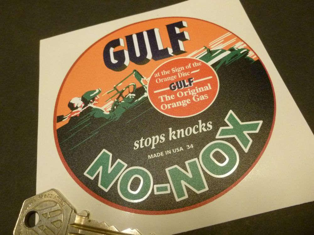 "Gulf No-Nox Stops Knocks Sticker. 4""."