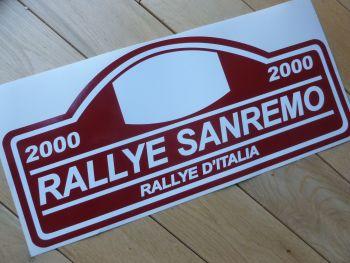 "Rallye Sanremo 2000 Rally Plate Style Sticker. 16""."