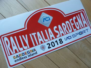 "Rally Italia Sardegna 2018 Rally Plate Style Sticker. 16""."
