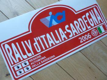"Rally d'Italia Sardegna 2006 Rally Plate Style Sticker. 16""."