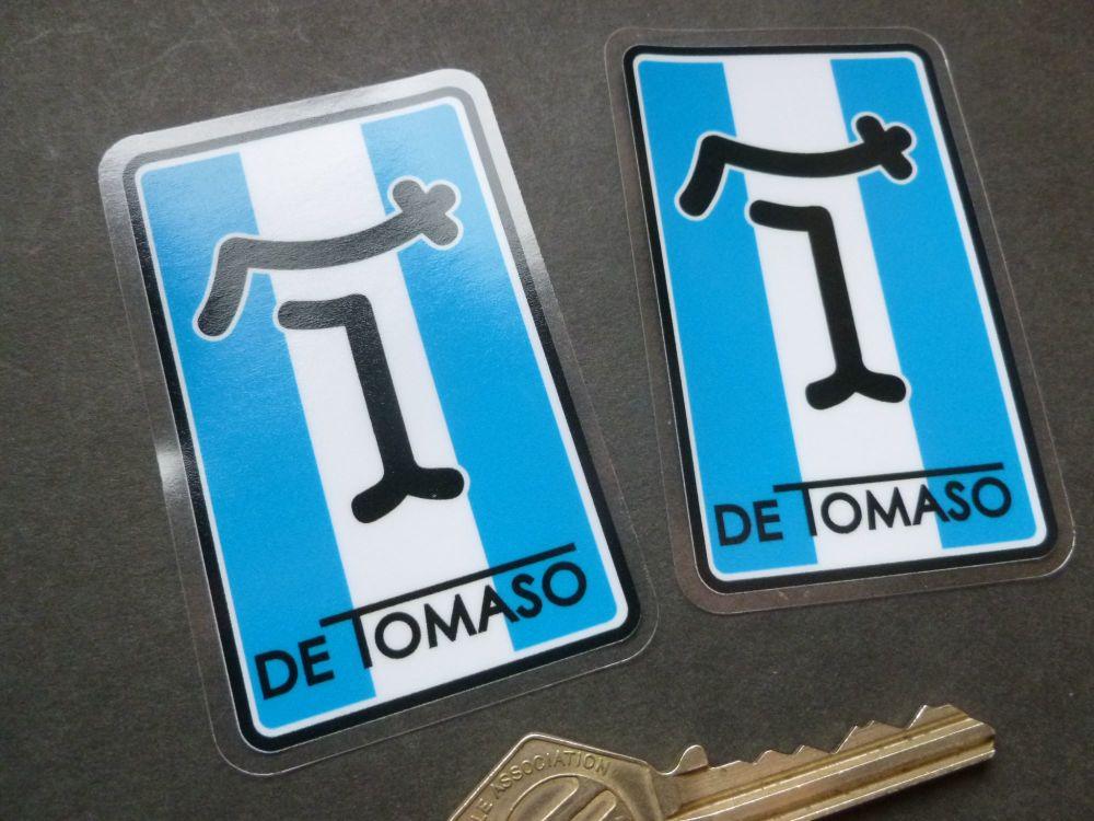 "DeTomaso Oblong Window Stickers. 3"" Pair."