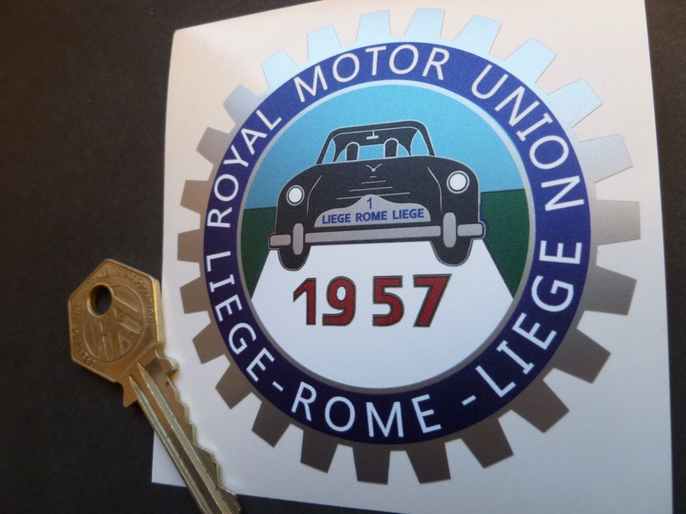 "Liege Rome Liege 1957 Royal Motor Union Sticker. 3.25""."