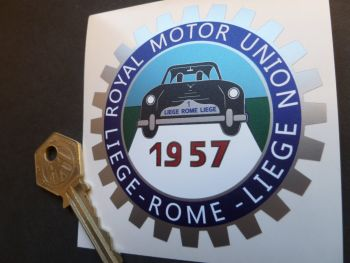 "Liege Rome Liege 1957 Royal Motor Union Sticker. 3.25""."