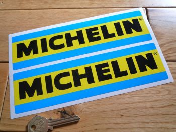 """Michelin 70's & 80's Style Blue & Yellow Oblong Stickers. 4"""", 8"""", or 9"""" Pair."""