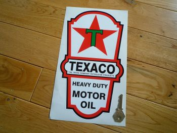 "Texaco Motor Oil Dispenser Sticker. 12""."