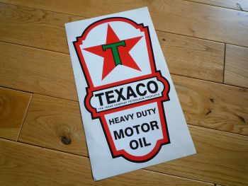 "Texaco Motor Oil Dispenser Sticker. 21.5""."