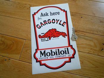 """Mobil Mobiloil Vacuum Gargoyle Oil Dispenser Sticker. 12""""."""