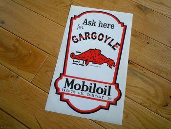 """Mobil Mobiloil Vacuum Gargoyle Oil Dispenser Sticker. 21.5""""."""