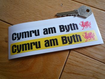 Cymru am Byth Welsh Number Plate Dealer Logo Cover Stickers. 140mm Pair.