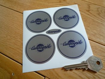 Campagnolo Silver & Blue Globe Logo Wheel Centre Stickers. Set of 4. 55mm.