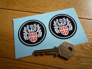 Austin Crest Black Background Circular Stickers. 50mm Pair.