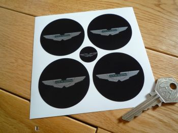 Aston Martin. Wing Logo Black to Edge Wheel Centre Stickers. Set of 4. 50mm or 60mm.