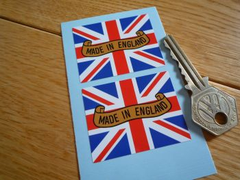 "Made in England Union Jack Flag & Scroll Stickers. 2"" Pair."
