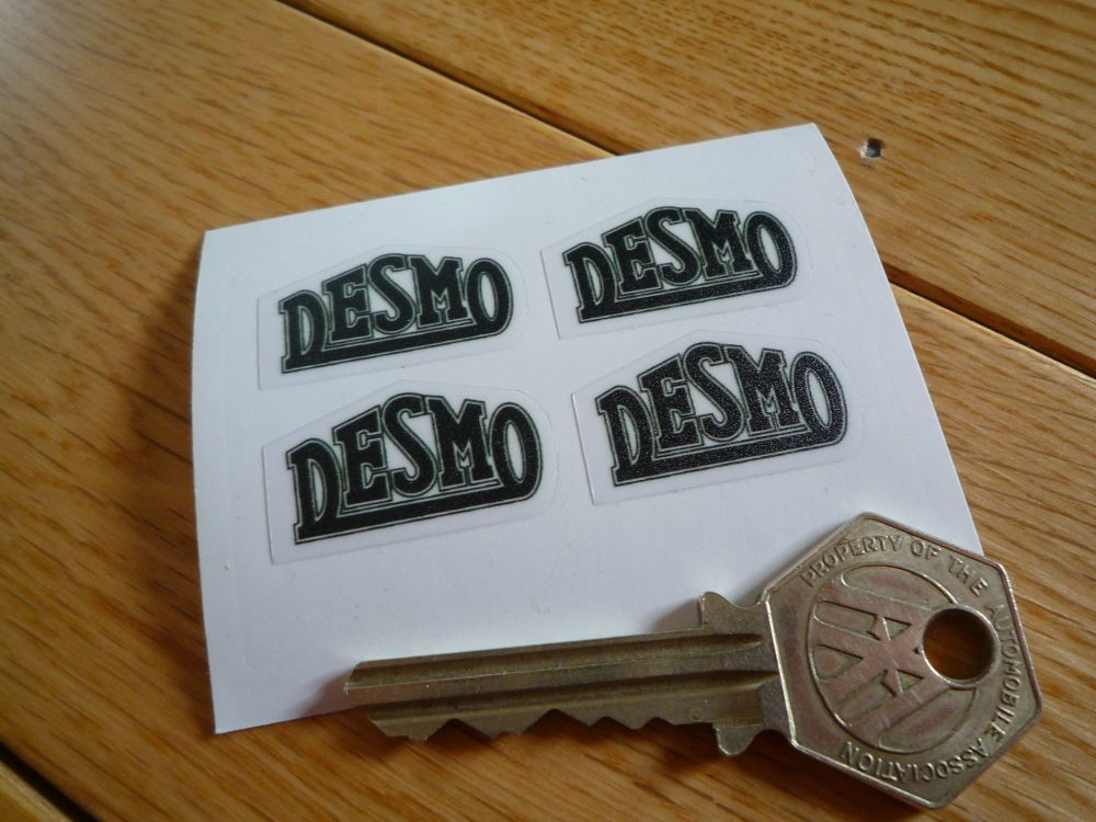Desmo Black & Clear Stickers. Set of 4. 30mm.
