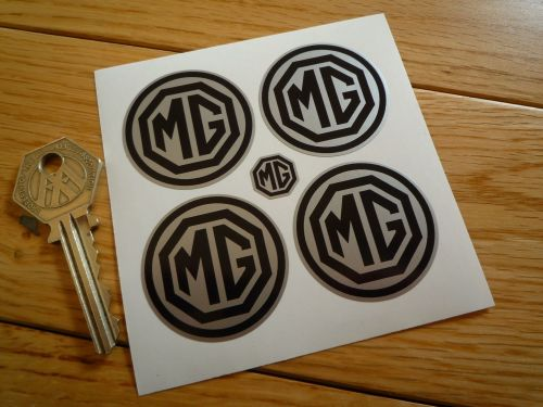 MG Wheel Centre Style Stickers. Silver & Black. Set of 4. 40mm.