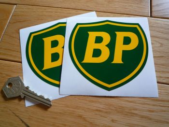 "BP Coachline Shield Stickers. 2"", 4"" or 6"" Pair."