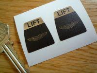 """Aston Martin Kangol Style Seat Belt Lift Shaped Stickers. 1"""" Pair."""