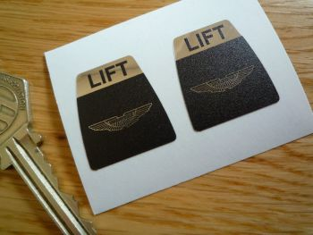 "Aston Martin Kangol Style Seat Belt Lift Shaped Stickers. 1"" Pair."